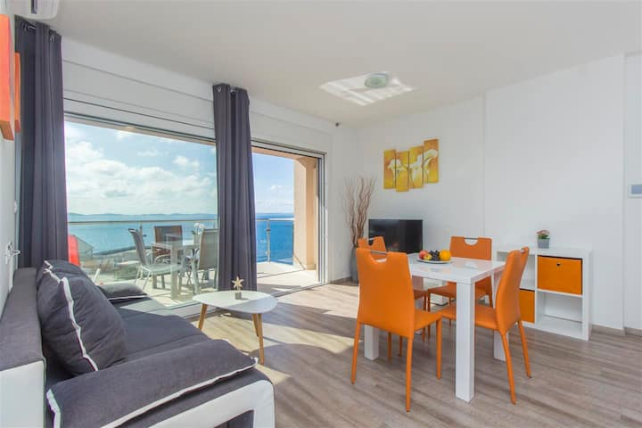Apartment with pool and sea view in Murter