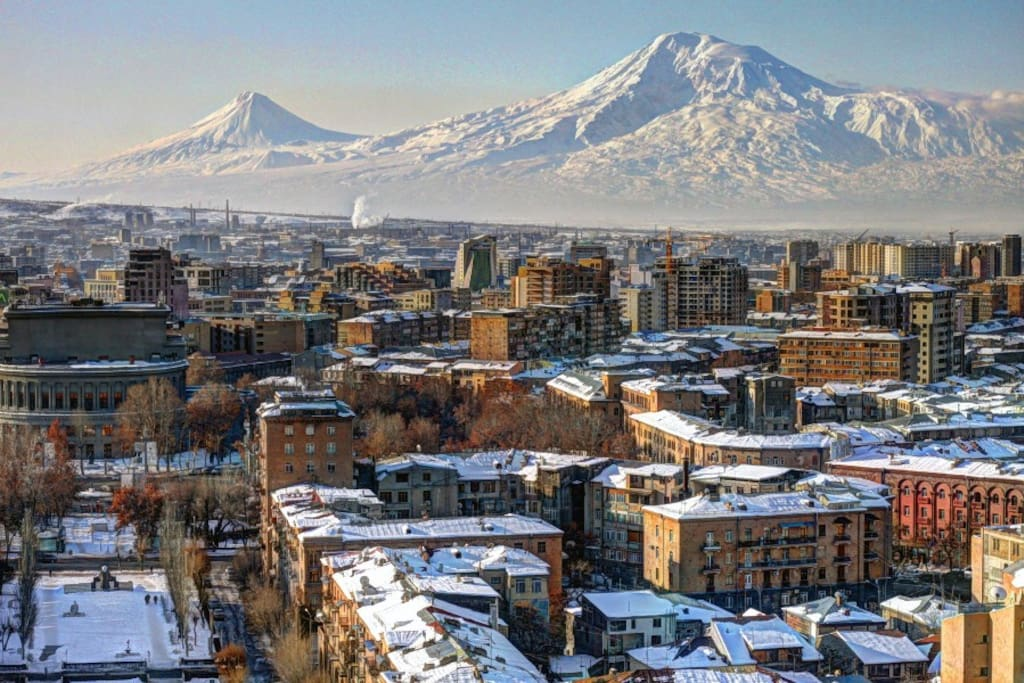 View of City Center and Mt. Ararat from Cascade (Kaskad) in winter
