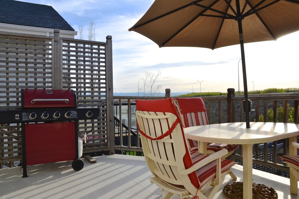 Enjoy BBQing your supper whilst looking out to the mountains