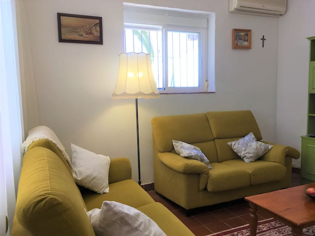 Cosy living room (salon) has a comfortable sofa, table and chairs, TV