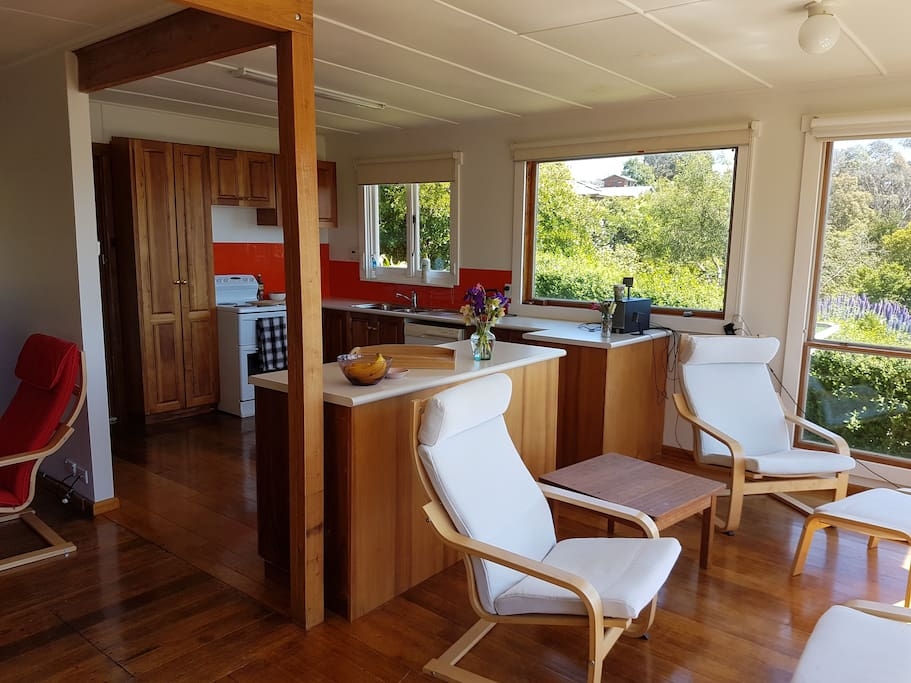 Open plan kitchen / living makes the most of the expansive views