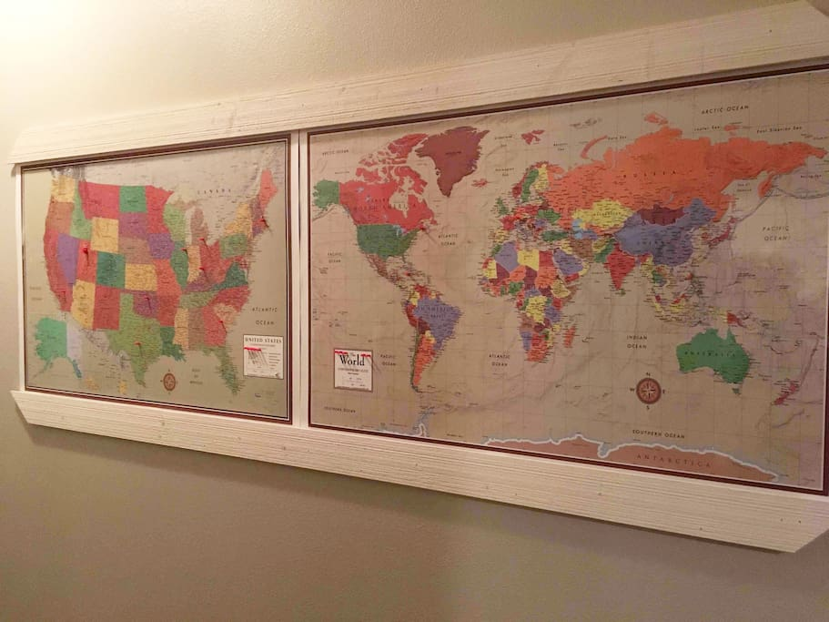 There's no place like home and we love seeing where our guests call home. Our United States and World maps with magnetic pins allow guests to indicate their hometowns from all over the world.