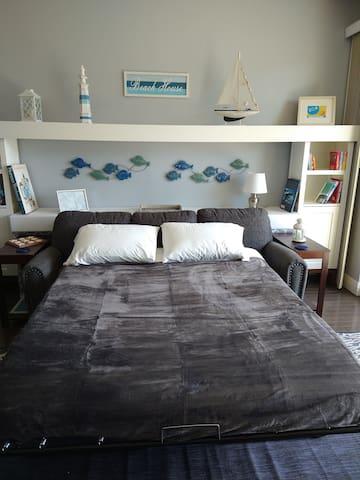 "Queen size sleeper sofa with 5"" memory foam mattress"