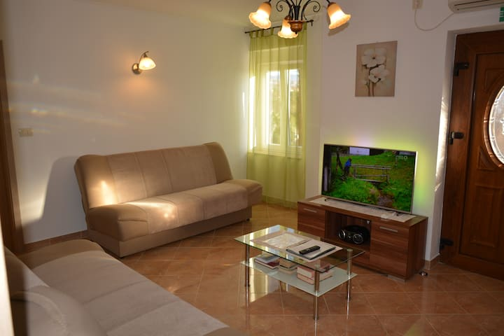 Living room with two extendable couch for sitting or sleeping and smart Ambilight TV .