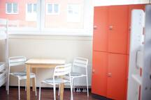 dormitory table and lockers