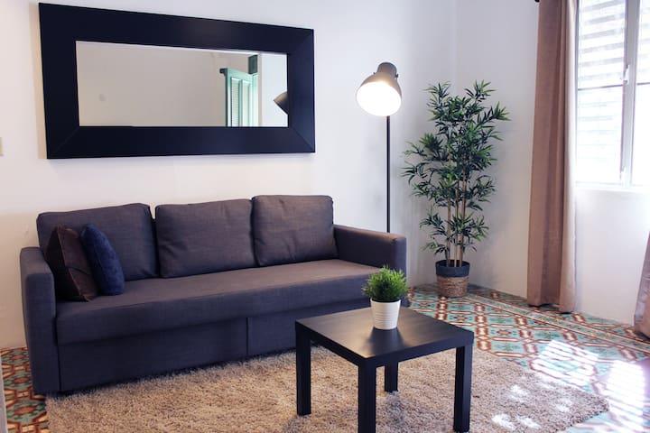 Vista completa de la sala la cual cuenta con un sofá cama donde se pueden acomodar dos personas con facilidad. Cuenta con pequeña mesa, espejo, lampara, y decoraciones con naturaleza artificial.