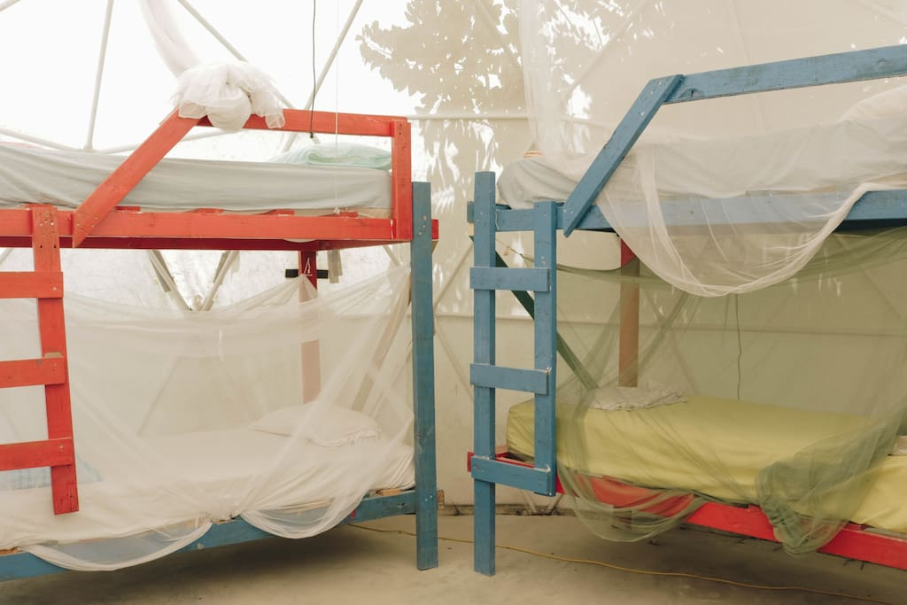 Each bed comes with a mosquito net.