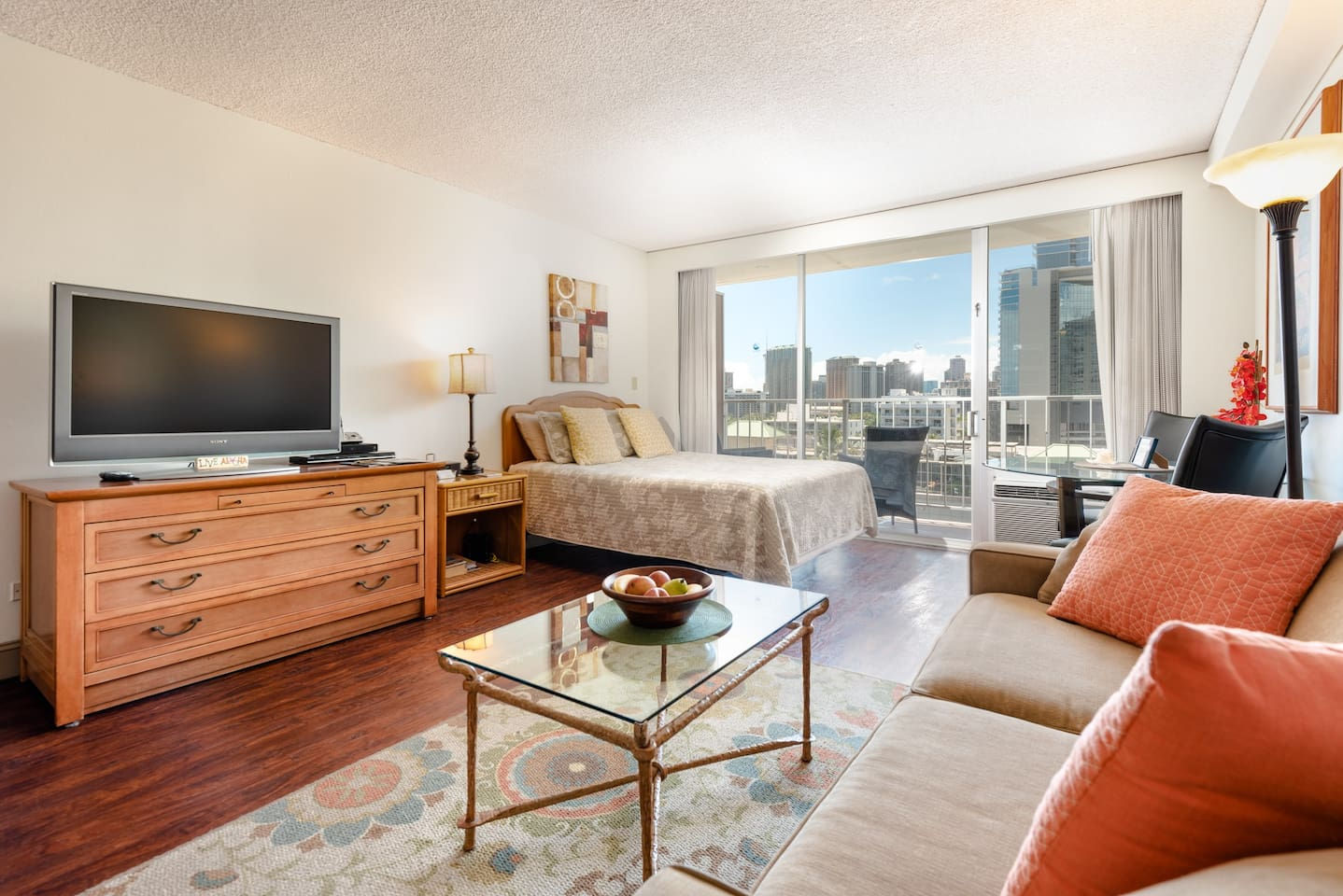 Studio condo with queen bed and full size sofa bed