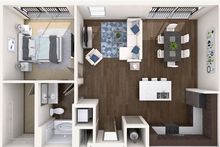 900sq ft 1 bedroom