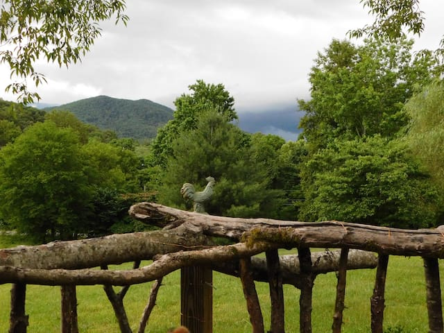 The Smoky Mountains being smoky-view from the cabin porch