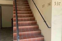 Stairway up to our front door.
