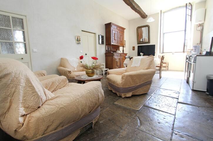 appartement au 1er étage d'un château , jardinet
