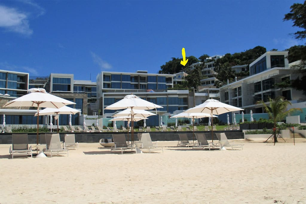 our villa view from Beach ( s. yellow arrow )