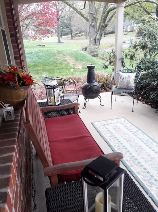 Your own private front porch overlooking our quietly beautiful  neighborhood