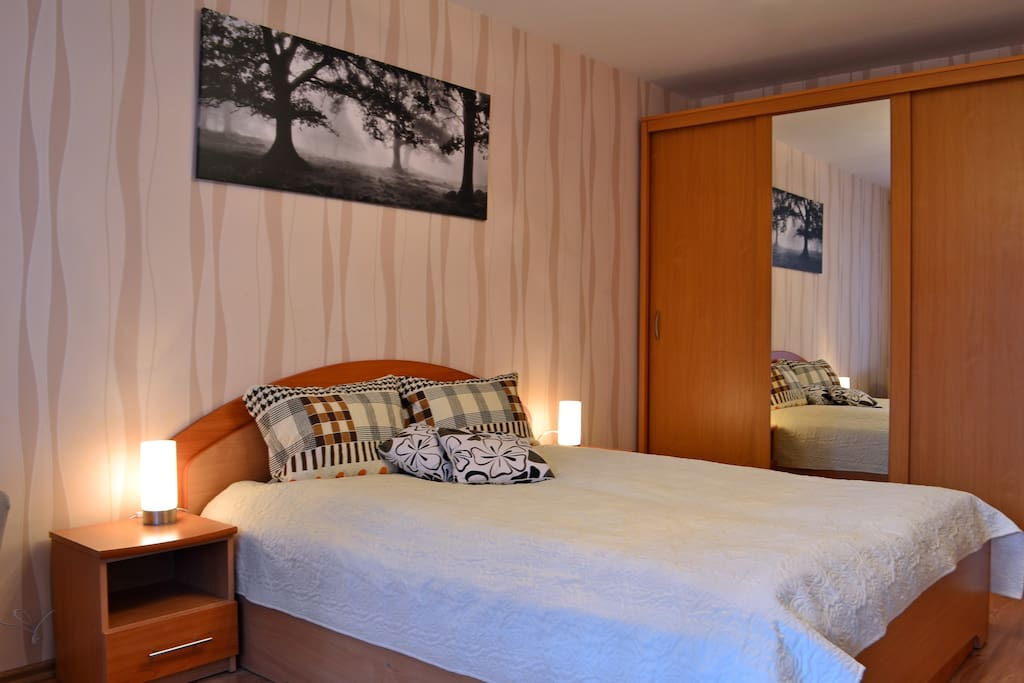 Master bedroom. Large wardrobe is very helpful for longer stay.
