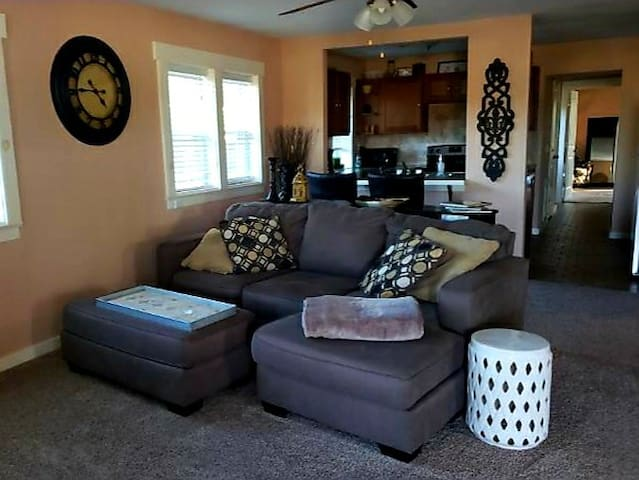 Open living room and kitchen.