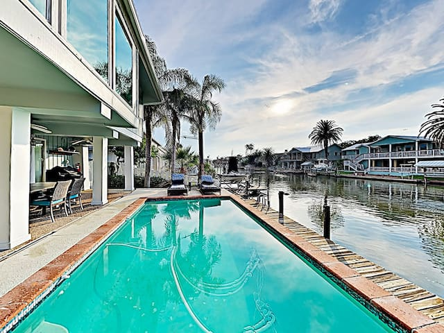 A private pool offers a stunning waterfront setting.