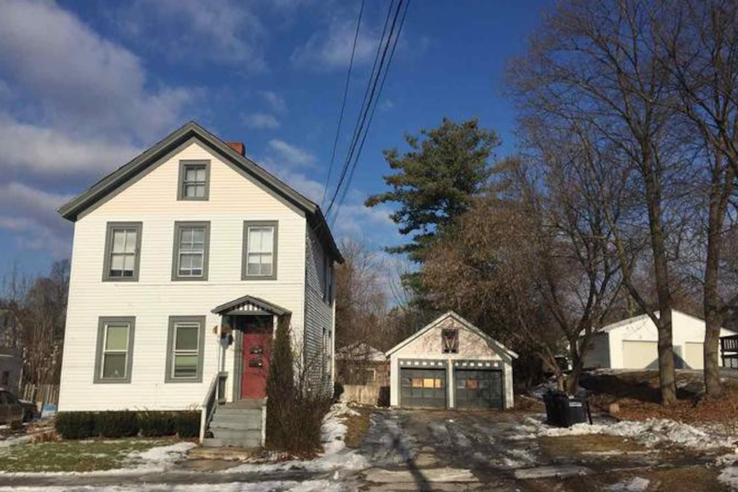 Front view of your Vermont Air-bnb!  You can park in the driveway and enter via the front red door.