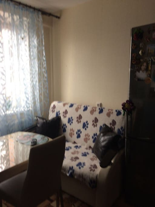 Уютная кухня, на кухне есть раскладной диван