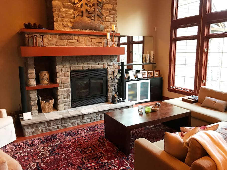 Living Room with Wood Burning Fireplace