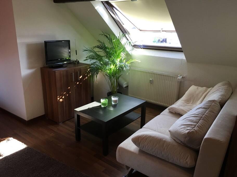 Wohnbereich mit Ausklappcouch und Fernseher