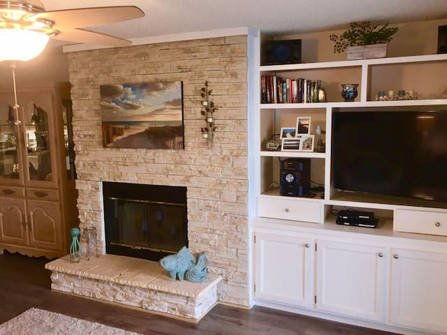 living area fire place and tv