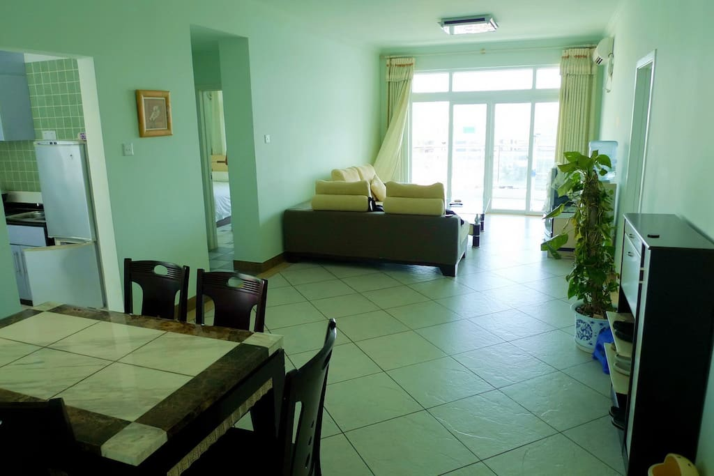 Big living& dining space, 2 rooms, kitchen, bathroom, and big terrace