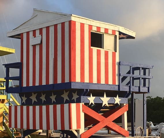 Stars & Stripes South Beach Lifeguard Tower
