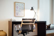 Office desk and chair for getting your work done.
