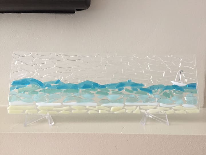 Ocean inspired glass art panel