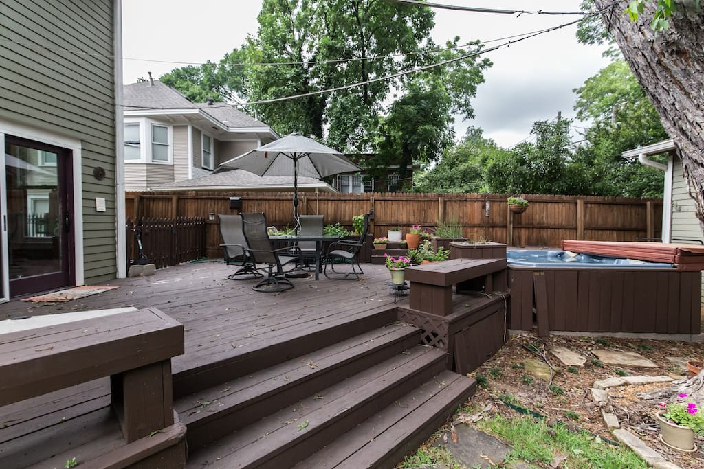 Enjoy more of the outdoor common area with outdoor dining or a soak in the hottub
