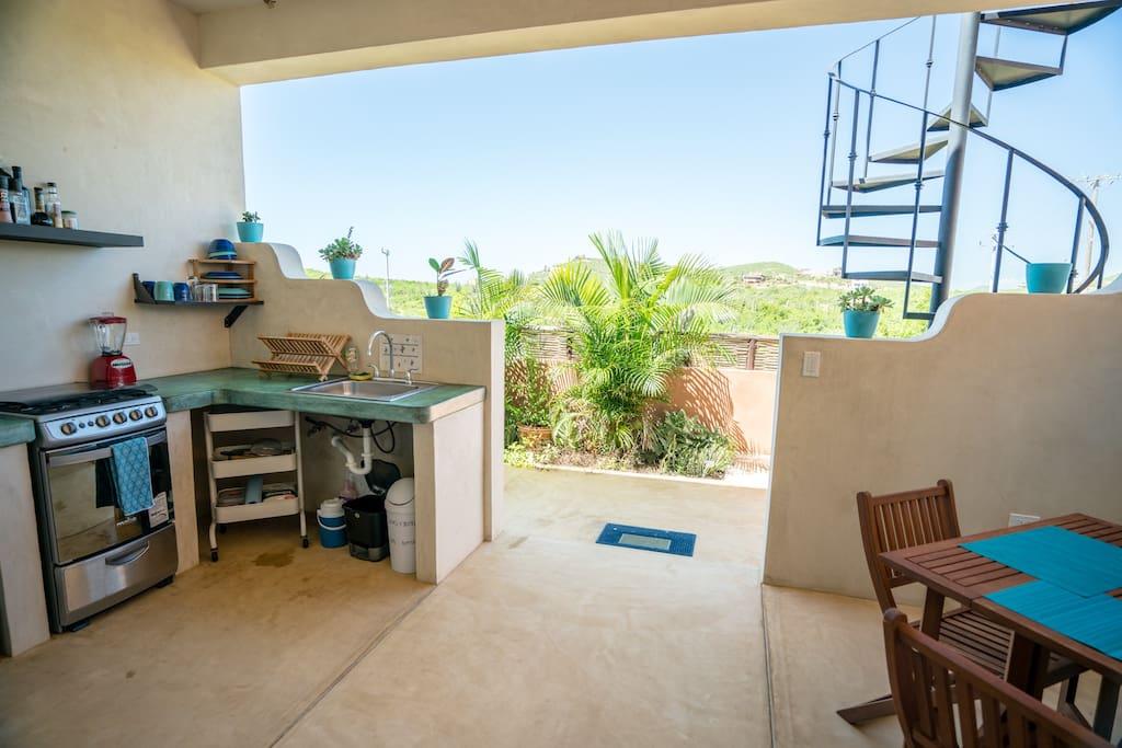 Kitchen, dinette and desert view