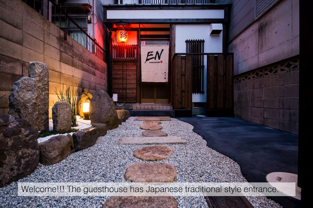 The guesthouse has Japanese traditional style entrance.