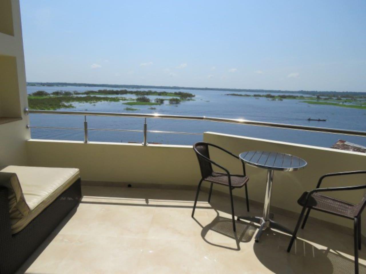 Riverside apartment balcony during high water season.