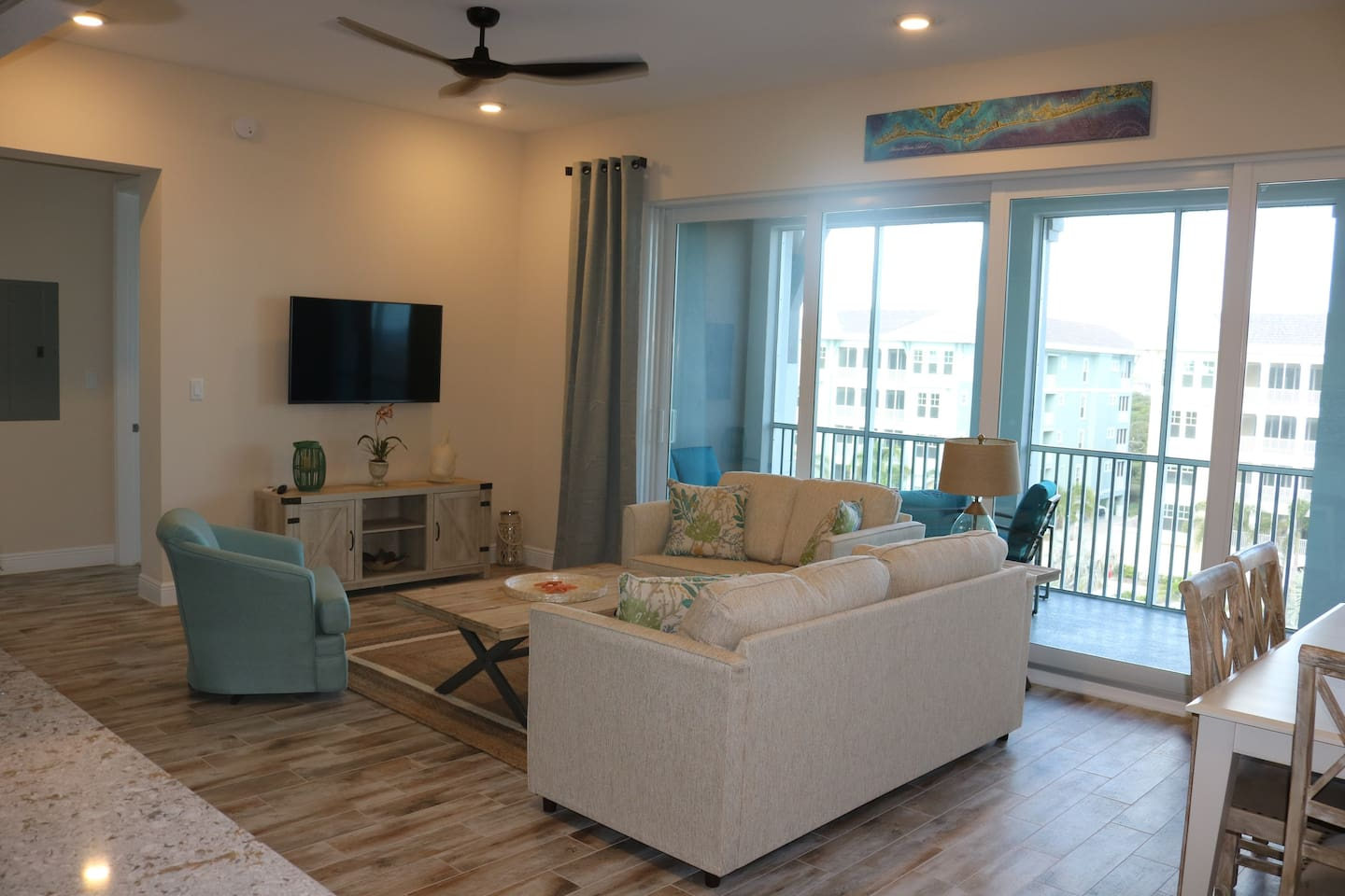 Brand new furnished penthouse condo with two large Master Suites. Spacious and comfortable living area. Large screened-in lanai with Gulf and island Views.