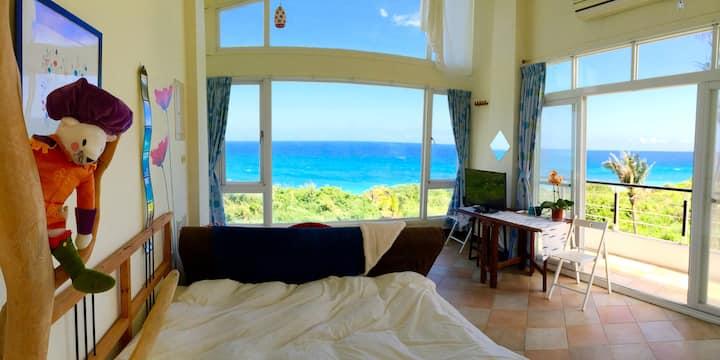 wishfly ocean view suite 2fs. 想飛度假屋 獨棟海濱別墅2樓南海景套房
