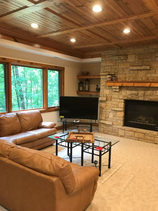 Lower level with TV and gas fireplace