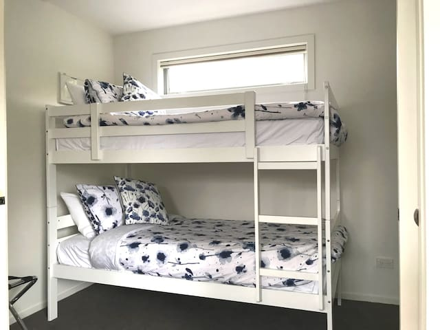 Bunk beds with inner-sprung mattresses and electric blankets