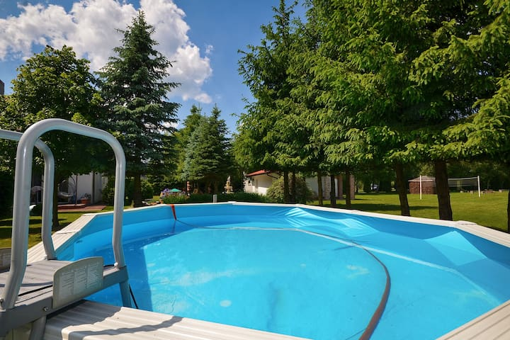 Pleasing Holiday Home with Swimming Pool, BBQ, Pond, Garden