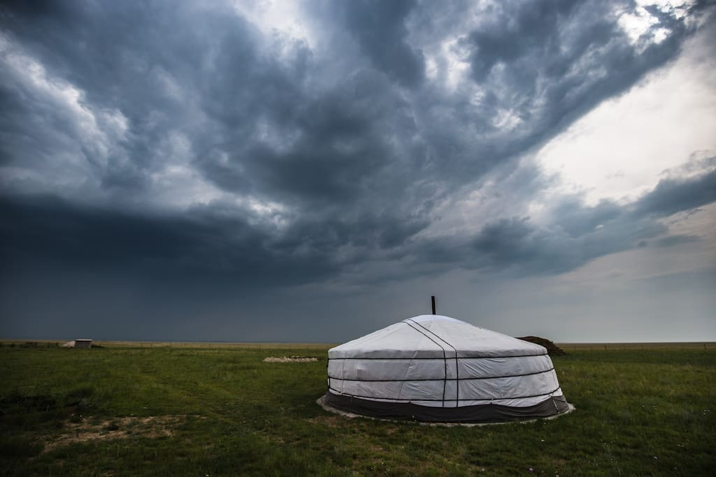 Amazing views of dramatic clouds on the steppe
