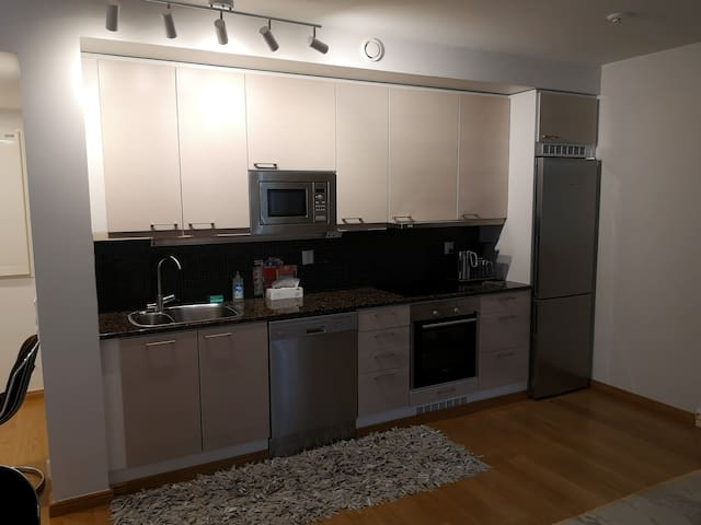 Kitchen with upscale amenities