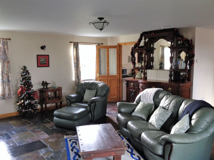 Wood burning stove in lounge / dining room