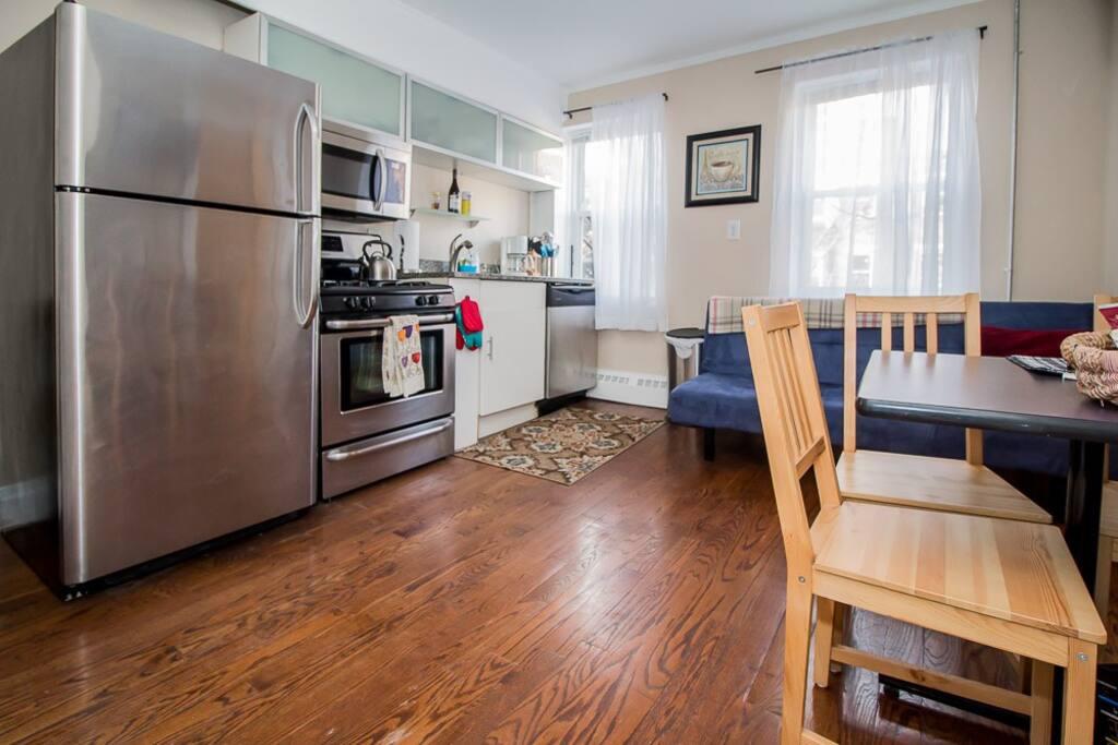 fridge, gas stove, dishwasher and microwave