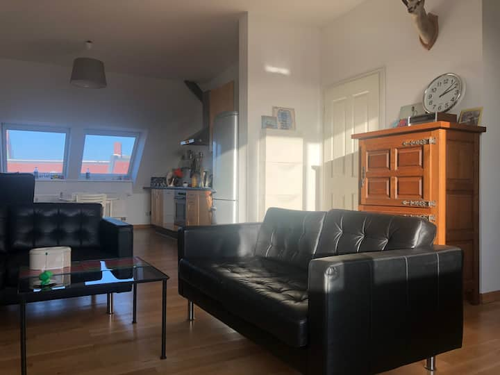 Large sunny top floor apartment with balcony.