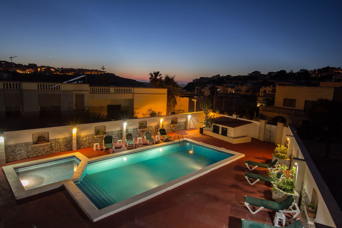 pool area by sunset