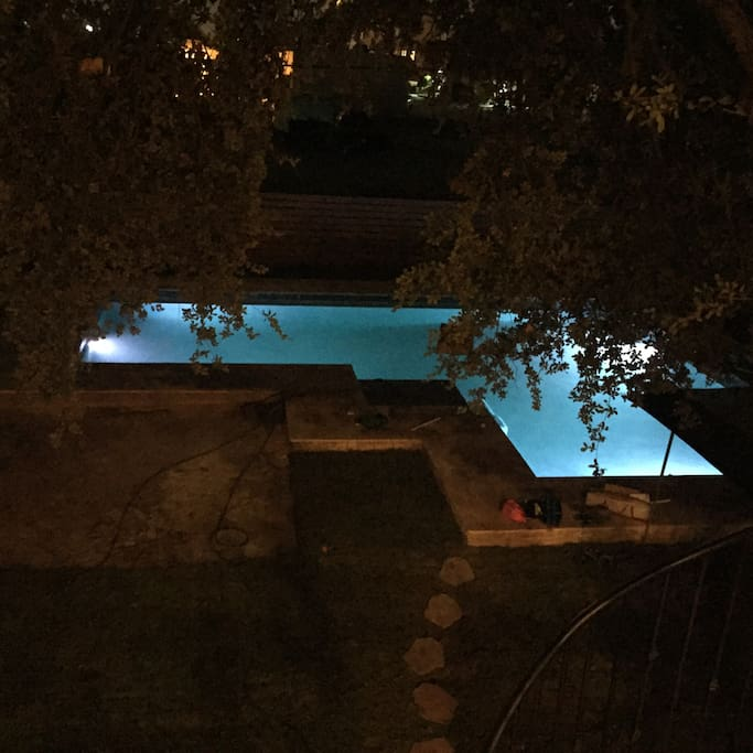 Pool lid at night
