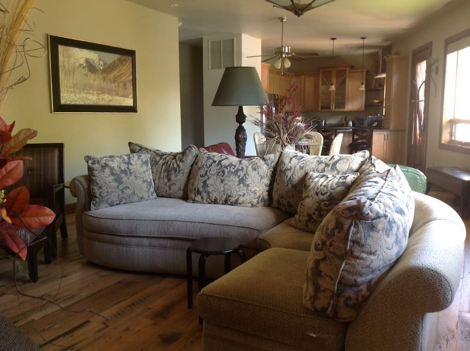 """Sitting area and sofa bed around 55"""" HDTV"""