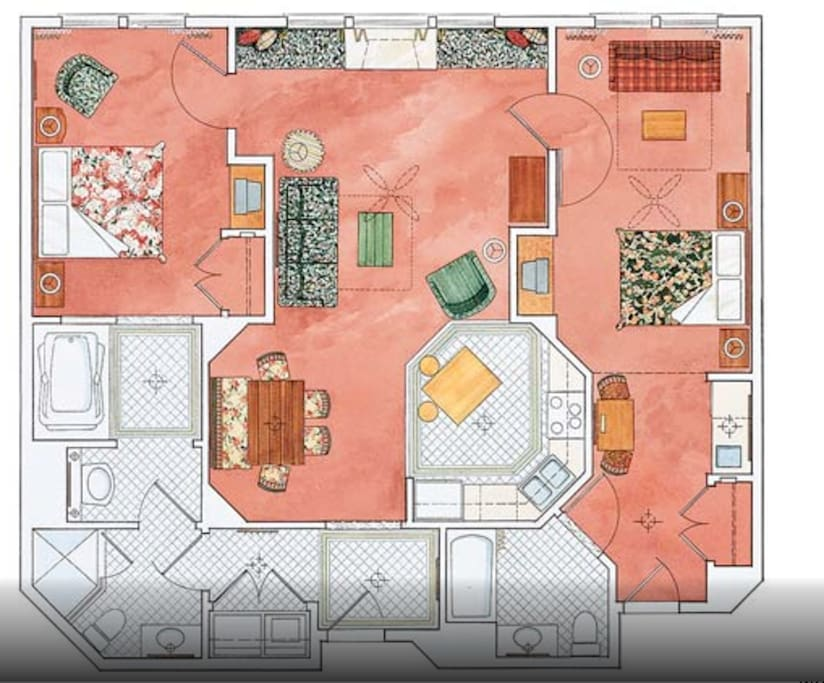 Luxury condo layout, shows King bed area, lounge area and separate private/lock off area with its own facilities. Also shows location of two sofa beds for additional guests. FOR MORE PHOTOS SEE THE HOTEL WEBSITE....https://www.marriott.com/hotels/hotel-photos/slcvi-marriotts-summit-watch/