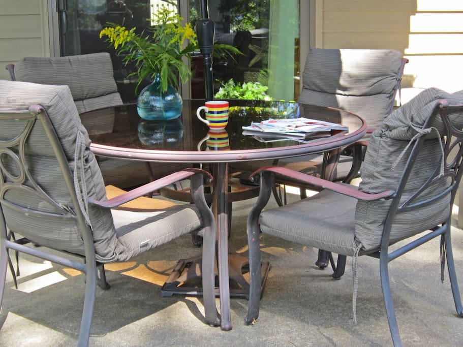 Relax on the patio with your morning coffee