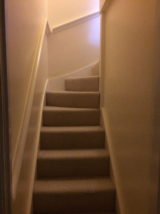 Stairs up to our beautiful loft room!